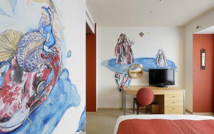 No. 14 Park Hotel Tokyo Artist Room 'Carp' designed by Yoko Naito