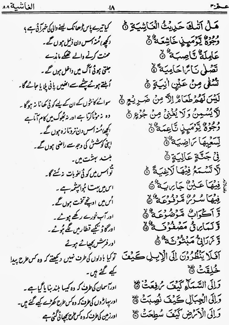 Complete Quran e Pak with Urdu Translation: Para No  30