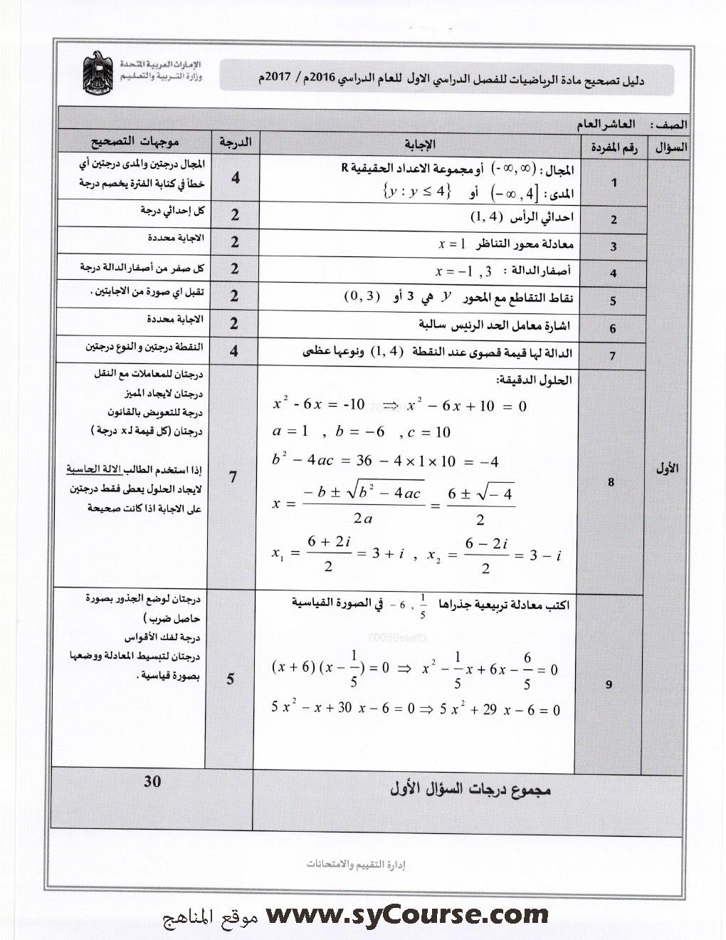 حل كتاب الرياضيات للصف التاسع المنهج اليمني