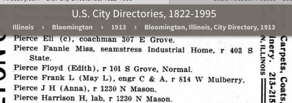 1913 Normal Illinois city directory Floyd and Edith Pierce