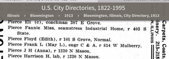 1913 Normal Illinois city directory Floyd and Edith Pierce