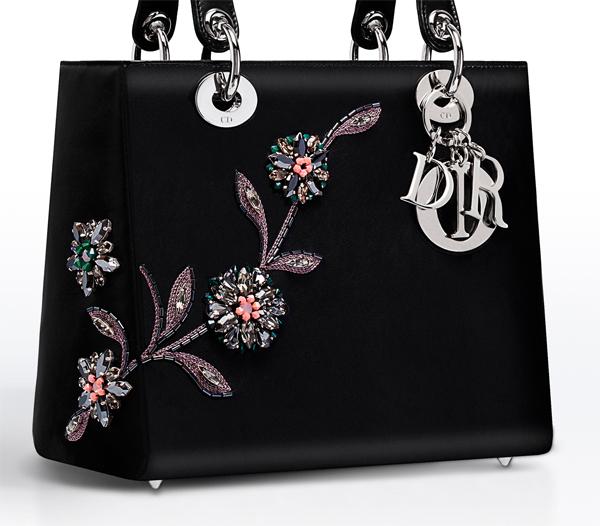 dior, bag, lady dior, leather, embroidery, beads, black bag, dior bag,