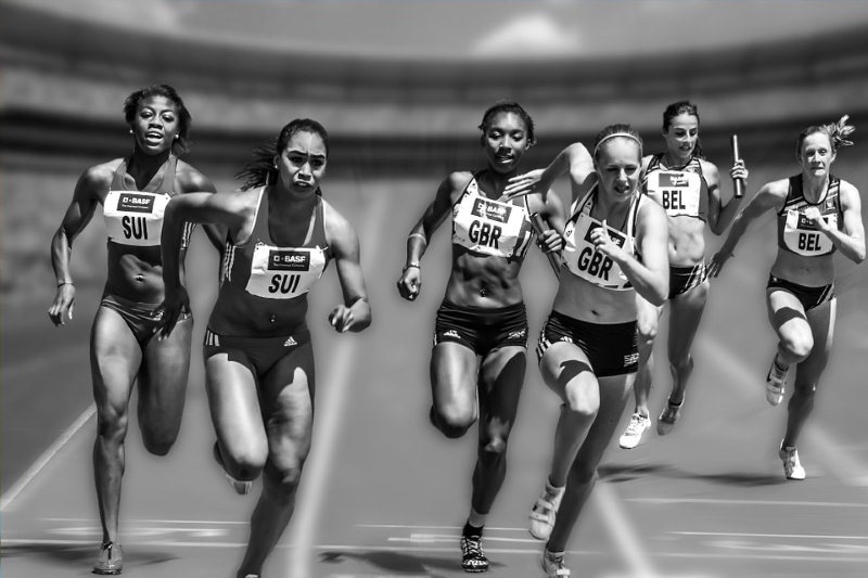 Atletas a correr