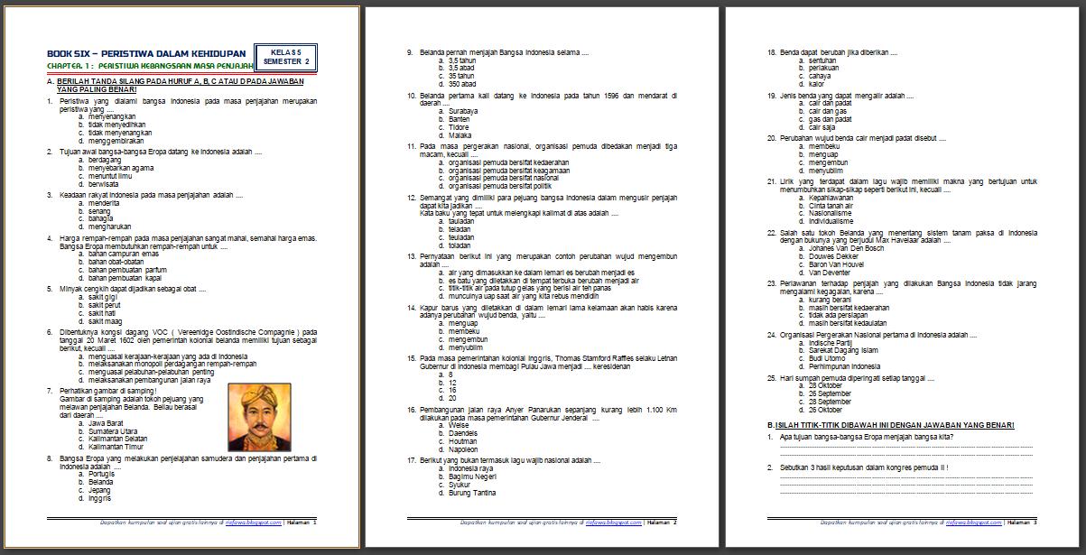 Download Soal UKK / UAS Genap / PAS Semester 2 Kelas 5 SD ...