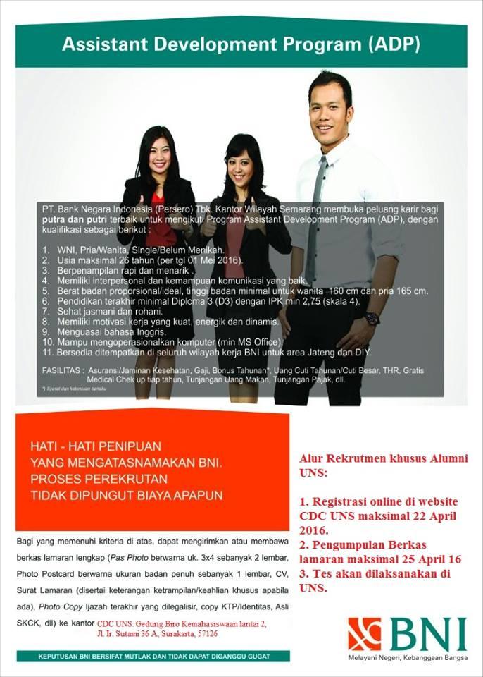Lowongan Kerja ADP Bank BNI Khusus Alumni UNS