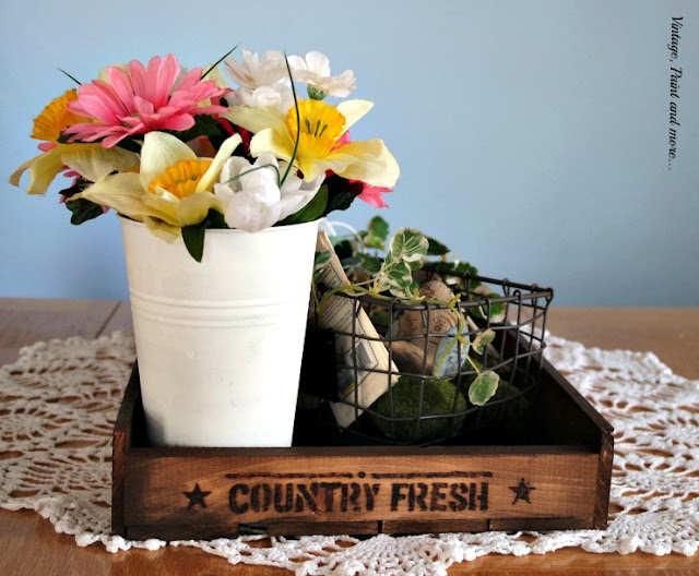 vintage pallet tray stenciled and stained to use in Spring vignete