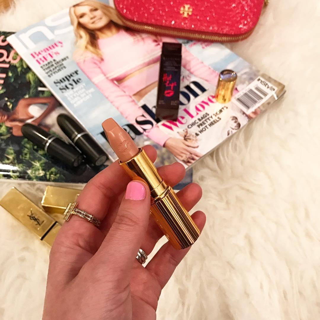 charlotte tilbury nude lipstick, gold lipstick