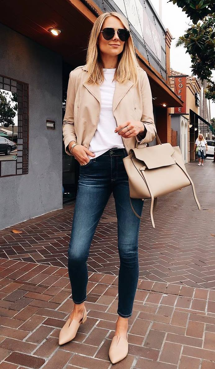 ootd_nude flats + skinny jeans + bag + beige leather jacket + white top