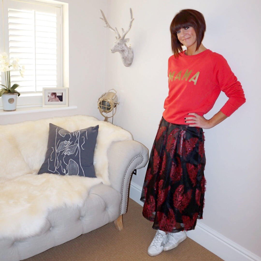 my midlife fashion, selfish mother mama sweatshirt, marks and spencer feather flared jacquard a line midi skirt, golden goose superstar low top leather trainers