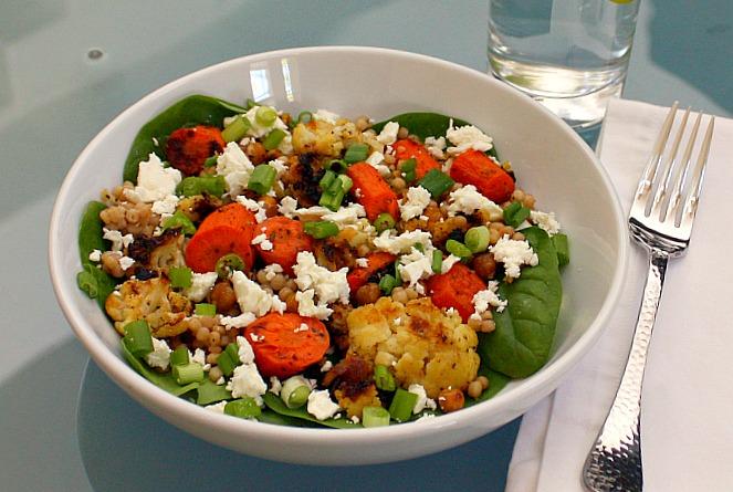 roasted carrot cauliflower salad