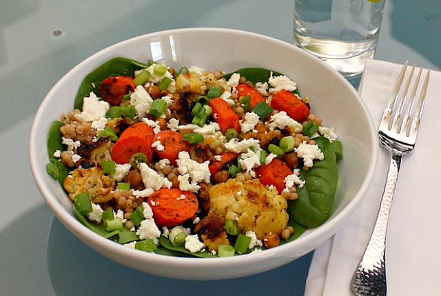 roasted carrot cauliflower salad