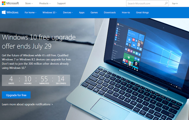 Windows 10 free upgrade countdown Microsoft website ending