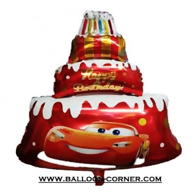 Balon Foil Happy Birthday Cake Jumbo Motif Cars