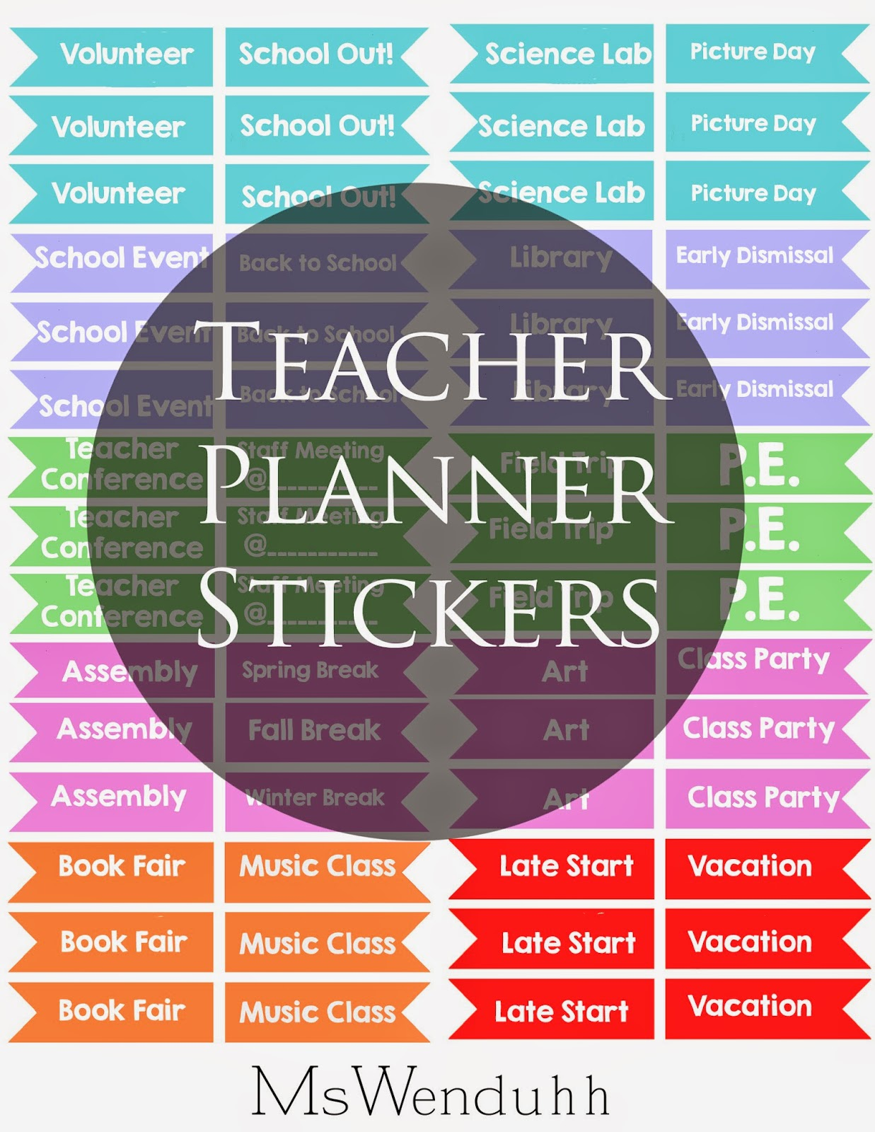 Mswenduhh Planning Amp Printable Teacher Planner Stickers