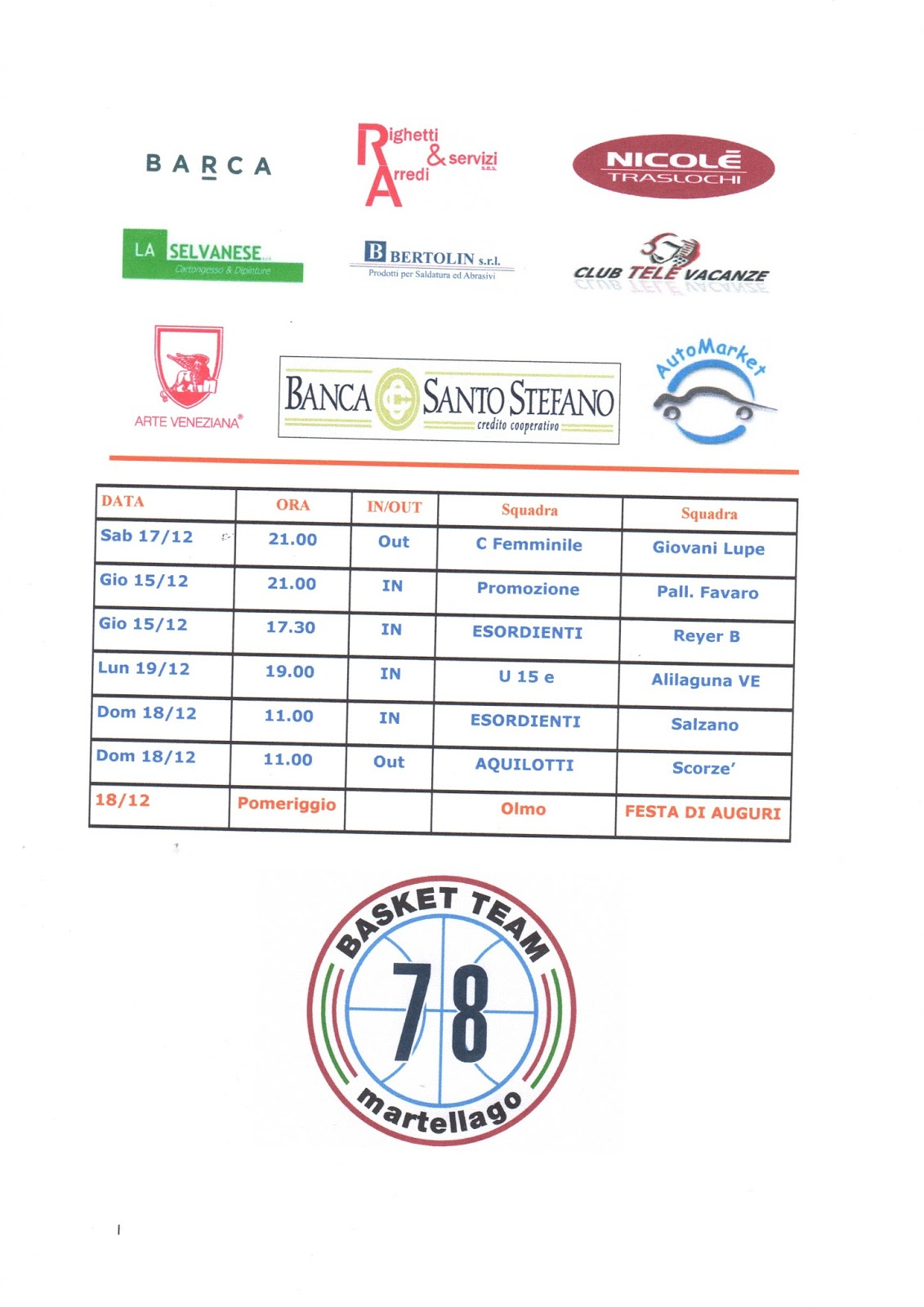 Arte Veneziana Srl Martellago A D Team 78 Basket Martellago 2016