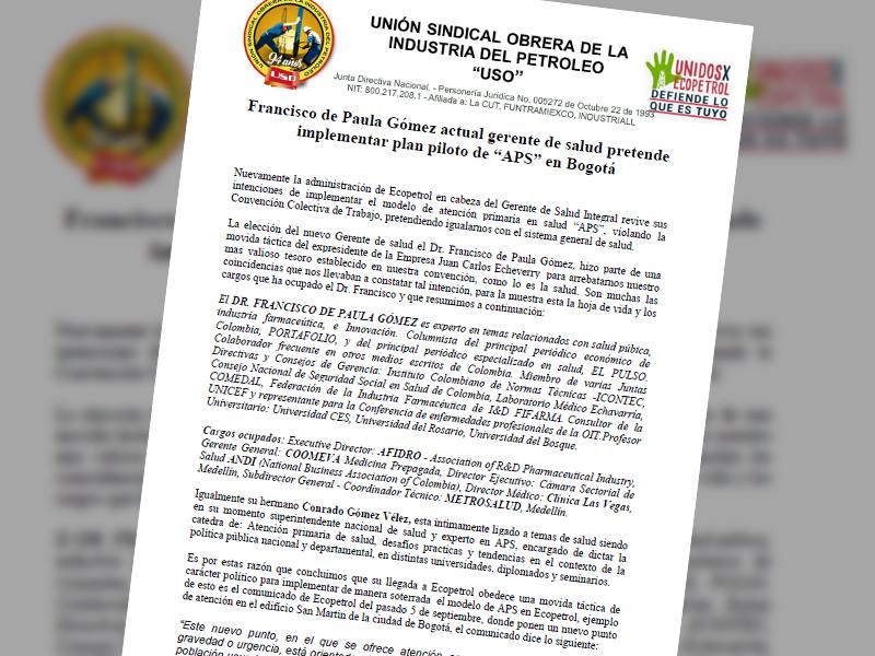 """Francisco de Paula Gómez actual gerente de salud pretende implementar plan piloto de """"APS"""" en Bogotá"""