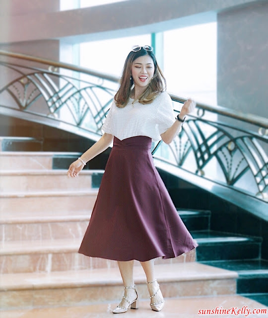 OOTD, Retro 80's, Christmas Collection, white flowy dress, high waisted maroon midi skirt, off shoulder white lace top, fashion