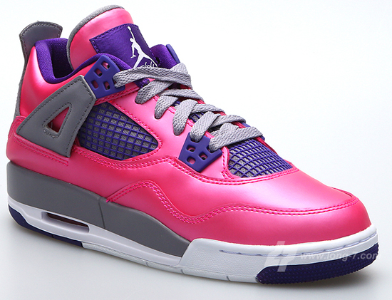 best service d62c2 eb142 This Girl s Air Jordan 4 Retro GS comes in a pink foil, white, cement grey  and electric purple colorway. Featuring an anodized pink upper with purple  and ...