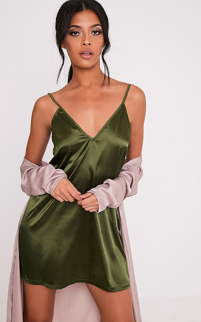 Olive coloured plunged satin slip dress