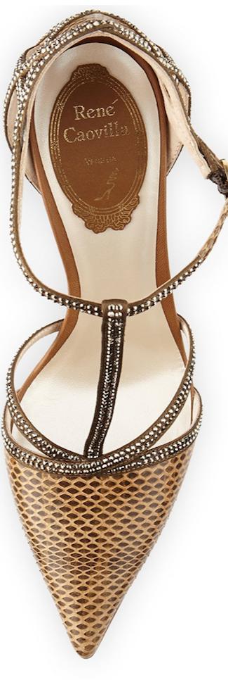 Rene Caovilla Strass Crystal Python T-Strap Sandal brown
