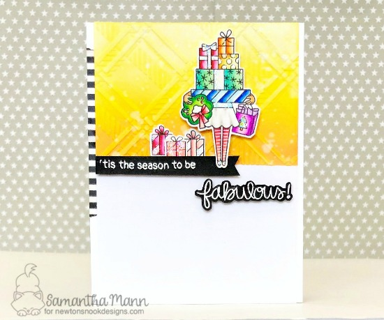Be Fabulous Christmas Card by Samantha Mann | Christmas Haul Stamp Set and Plaid Stencil Set by Newton's Nook Designs #newtonsnook #handmade