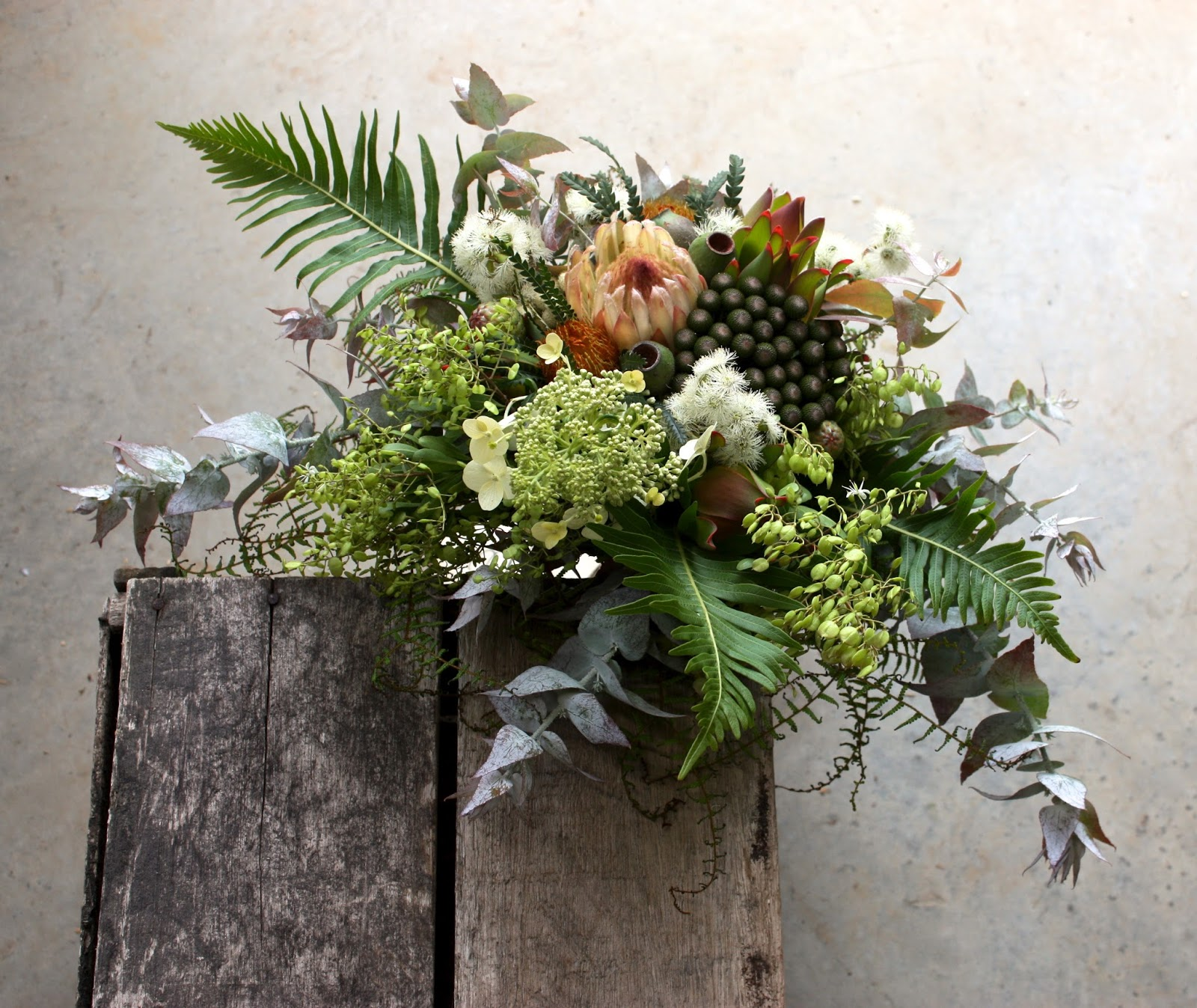 Look With The Colours Of Sage Green Champagne And Ivory Such A Gorgeous Subtle Palette Protea White Ice Flower Throughout Year Here In Tasmania