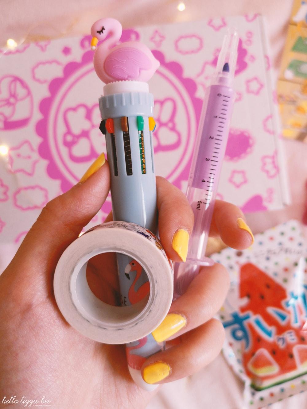 flamingo multicolur pen, hello kitty washi tape, syringe highlighter pen