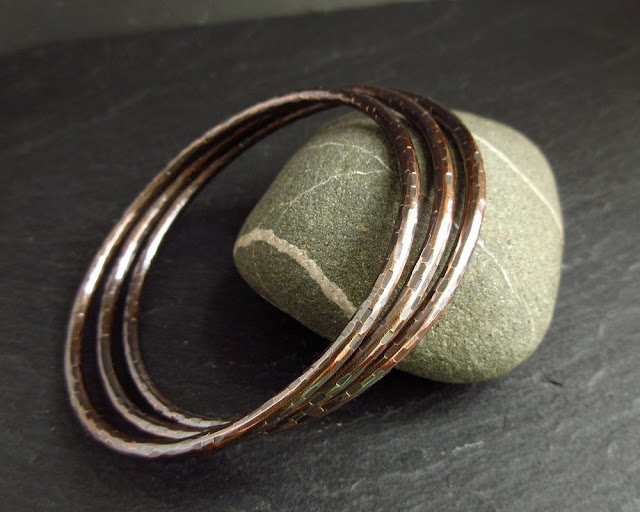 hammered bronze bangle set cinnamon jewellery
