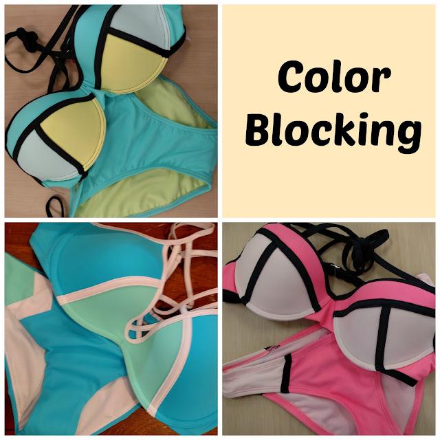 color block bikinis