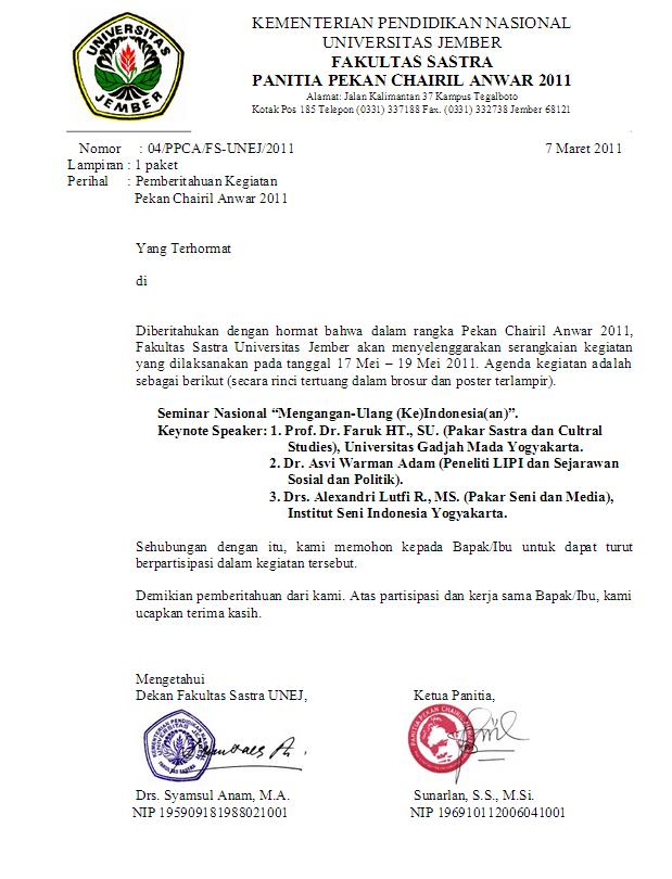 contoh surat pemberitahuan kegiatan kampus