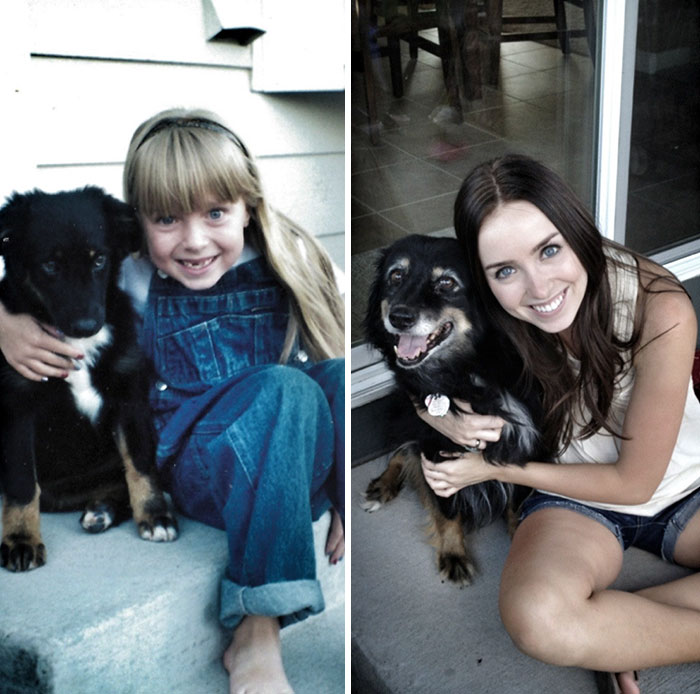 30 Heart-Warming Photos Of Dogs Growing Up Together With Their Owners - My Dog And I, 1998 And 2012