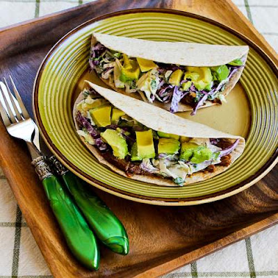 Low-Carb Slow Cooker (or Pressure Cooker) Shredded Beef Tacos with Spicy Slaw and Avocado from Kalyn's Kitchen found on SlowCookerFromScratch.com