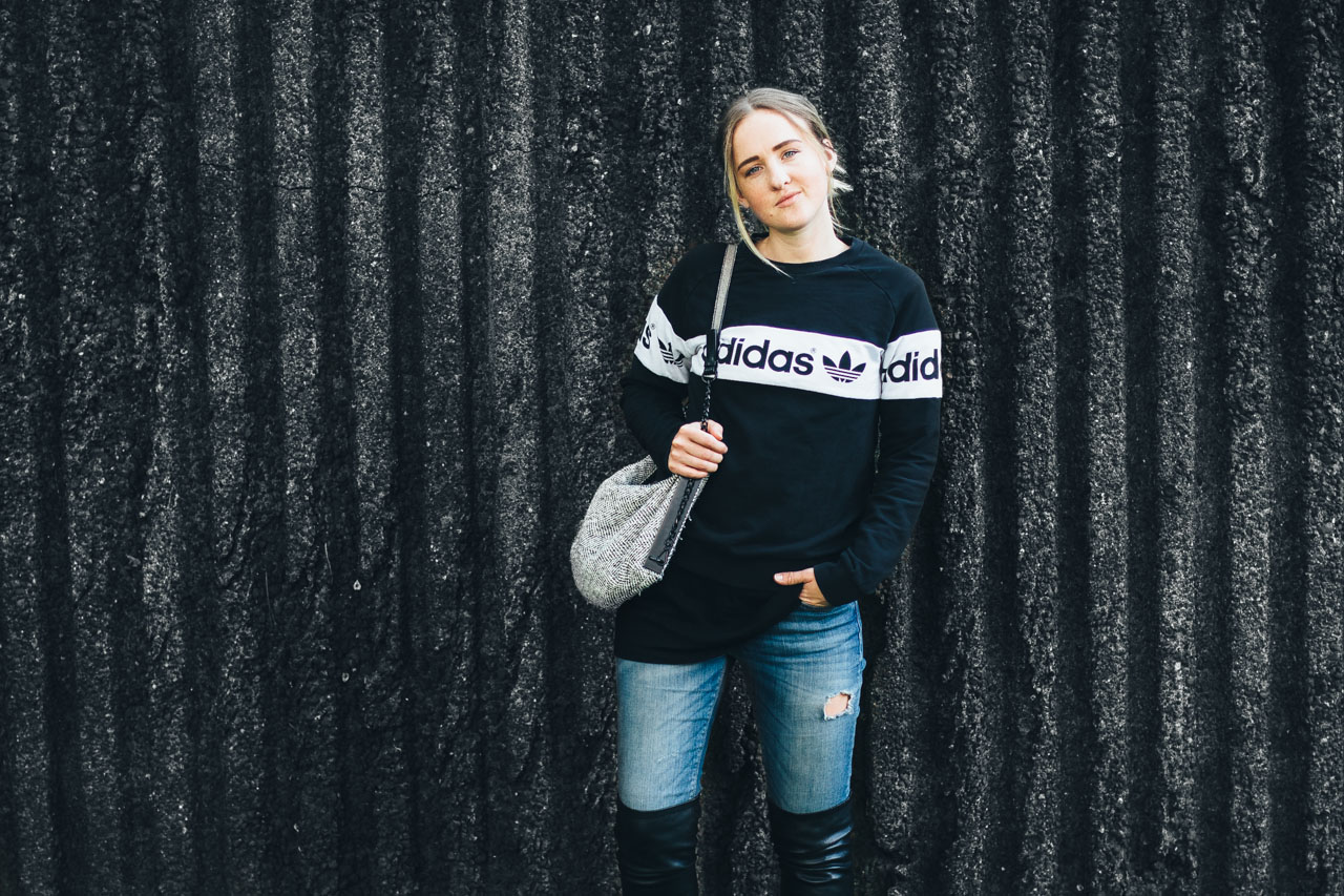 Adidas sweater - Zara jeans - knee high boots - Vancouver fashion blog - outfit