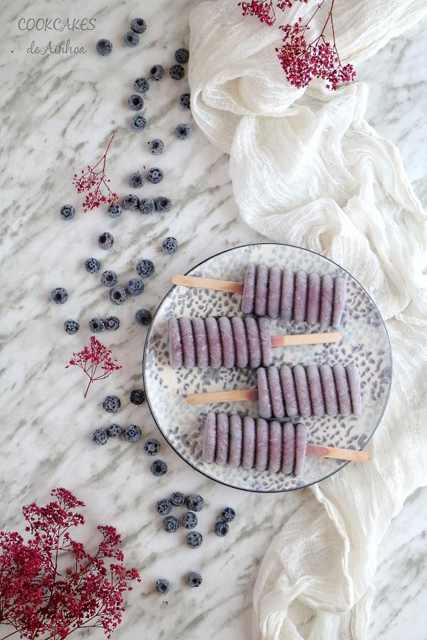 Polos de Coco y Arándanos. Receta vegana sin horno, gluten ni lactosa - Cookcakes de Ainhoa