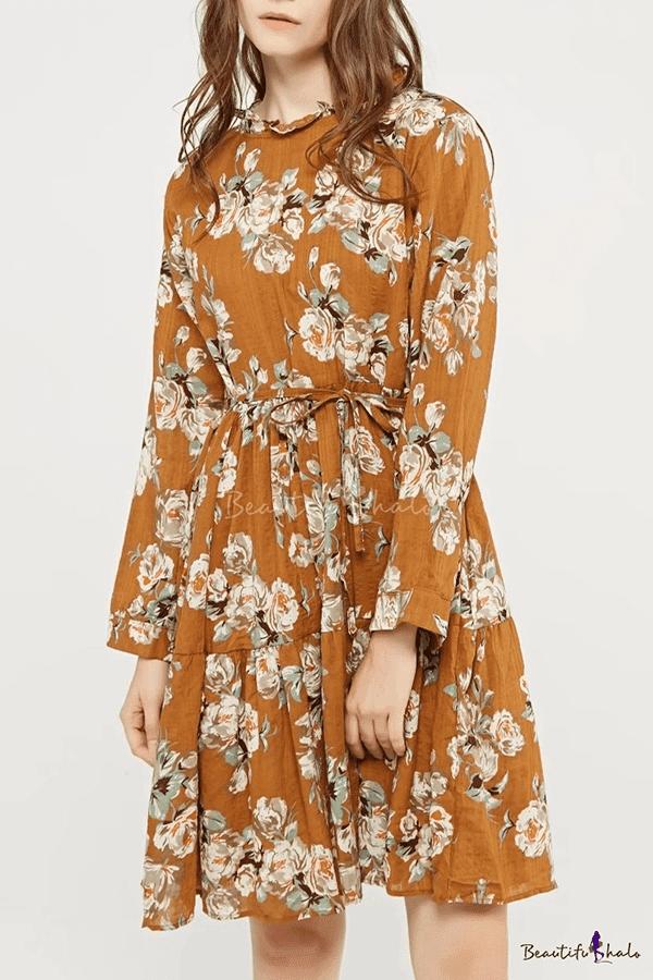 Round Neck Long Sleeve Chic Floral Pattern Midi Elegant A-Line Dress