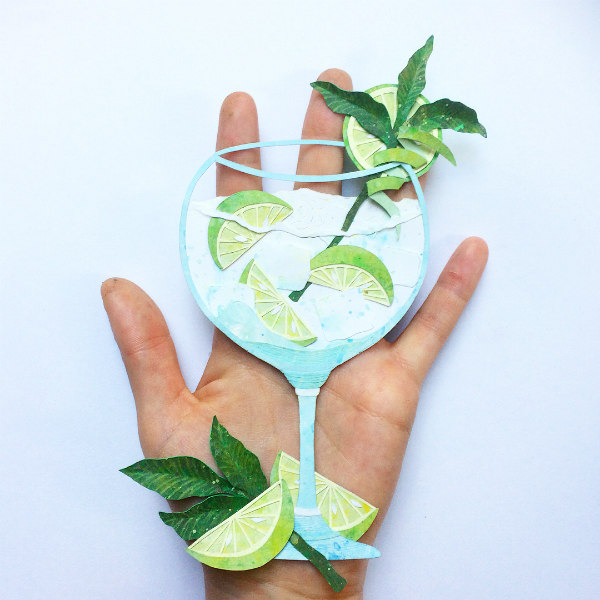 Hand Cut and Hand Painted Gin and Tonic Paper Illustration