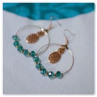 boucles d'oreilles ananas cuivre turquoise