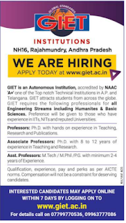 GIET, Rajahmundry Recruitment 2019 Associate Professor/Professor/Assistant Professor Jobs