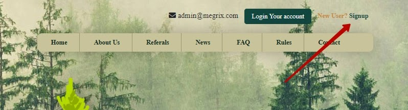 Регистрация в Megrix