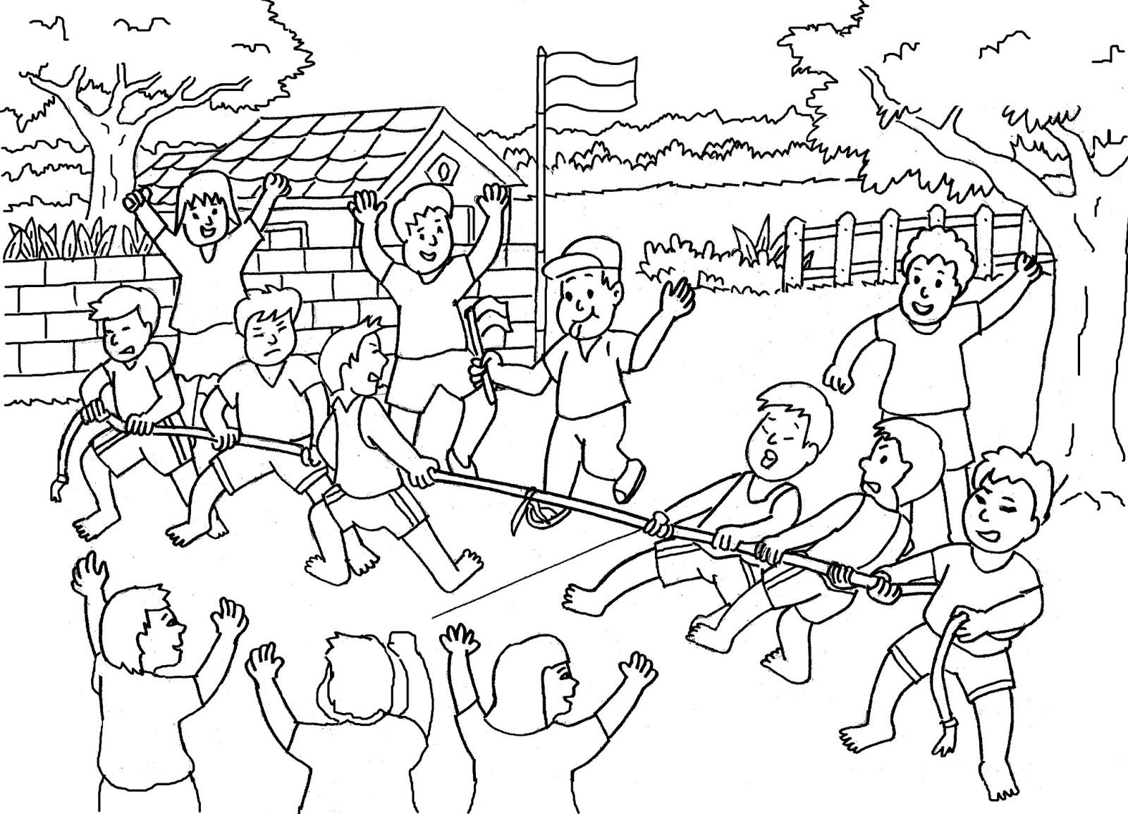 Mewarnai Gambar Panjat Pinang Perayaan HUT Kemerdekaan RI