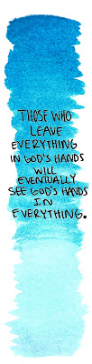 blue watercolor bookmark God's hands quote