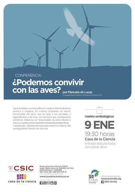 Conferencia: ¿ Podemos convivir con las aves ?. Por Manuela de Lucas, 9 de Enero 2018.. Grupo Local SEO-Sevilla.