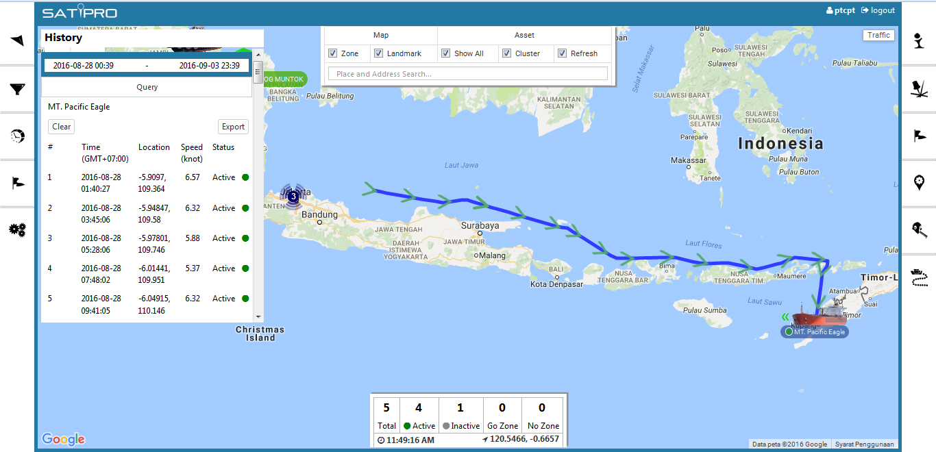 playback tracking gps kapal laut, logger
