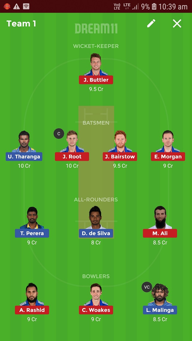 sl vs eng dream11 probably playing 11