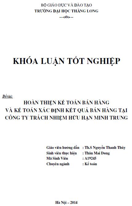 Hoàn thiện kế toán bán hàng và xác định kết quả bán hàng tại Công ty TNHH Minh Trung