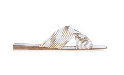 Gianvito Rossi Spring Summer 2016 Shoes  phoenix gold and white flat slip ons