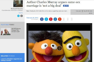 Charles Murray gay marriage equality same-sex Rob Schilling Bert Ernie Rick Sincere