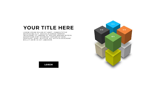 Useful 3D Cube Design Elements for PowerPoint Template with 8 Cubes