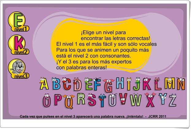 ABC (Juego de reconocimiento de vocales, consonantes y palabras sencillas)
