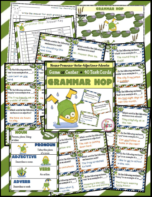 Grammar Hop has 40 task cards to review nouns, pronouns, verbs, adjectives, and adverbs